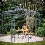 Gartenpavillon Florenz mit Messingkugel, pulverbeschichtet anthrazit