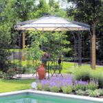 Gartenpavillon Florenz mit Sonnensegel, pulverbeschichtet