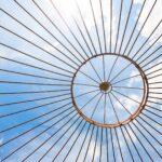 Gartenpavillon Florenz, Detailansicht Dachfächer und Kuppel, unbeschichtet (Edelrost)