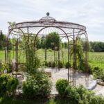 Gartenpavillon Florenz mit kundenindividuellen Dekoherzen, unbeschichtet (Edelrost)