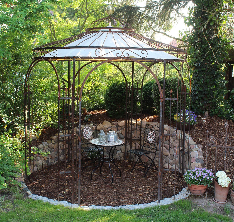 Gartenpavillon Milano mit Messingkugel und Sonnensegel, unbeschichtet Edelrost