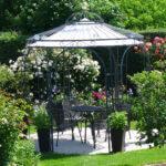 Gartenpavillon Milano mit Messingkugel und Sonnensegel, pulverbeschichtet anthrazit