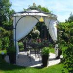Gartenpavillon Milano mit Messingkugel, Sonnensegel und Vorhängen, pulverbeschichtet anthrazit