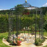 Gartenpavillon Milano mit Rankgitter Rosa, pulverbeschichtet in Sonderfarbe schwarz