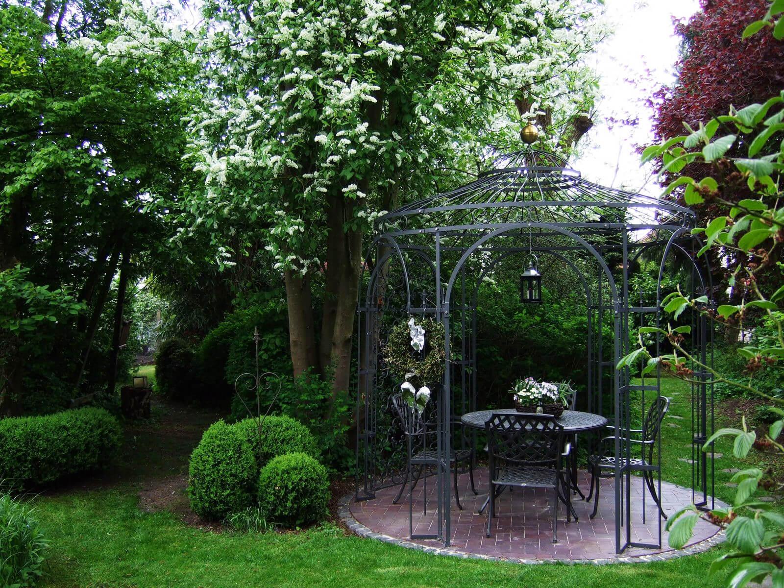 Gartenpavillon Milano mit Rankgitter Rosa, pulverbeschichtet