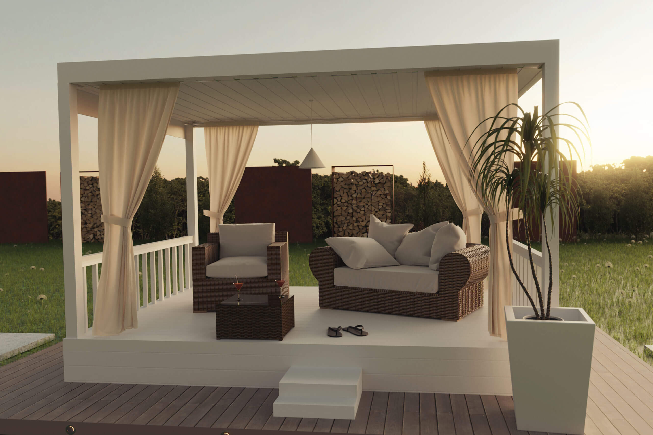 ©Brilliant Eye / Adobe Stock: Outdoor Oase - Elegante weiße Terrasse mit Bedachung und Lounge-Möbeln.
